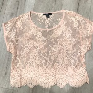 Beige pink short sleeve lace top